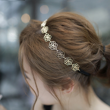 Sale Women Hair Band Hollow Charming Golden Rose Flower Elastic Headband Headwear Hair Accessories