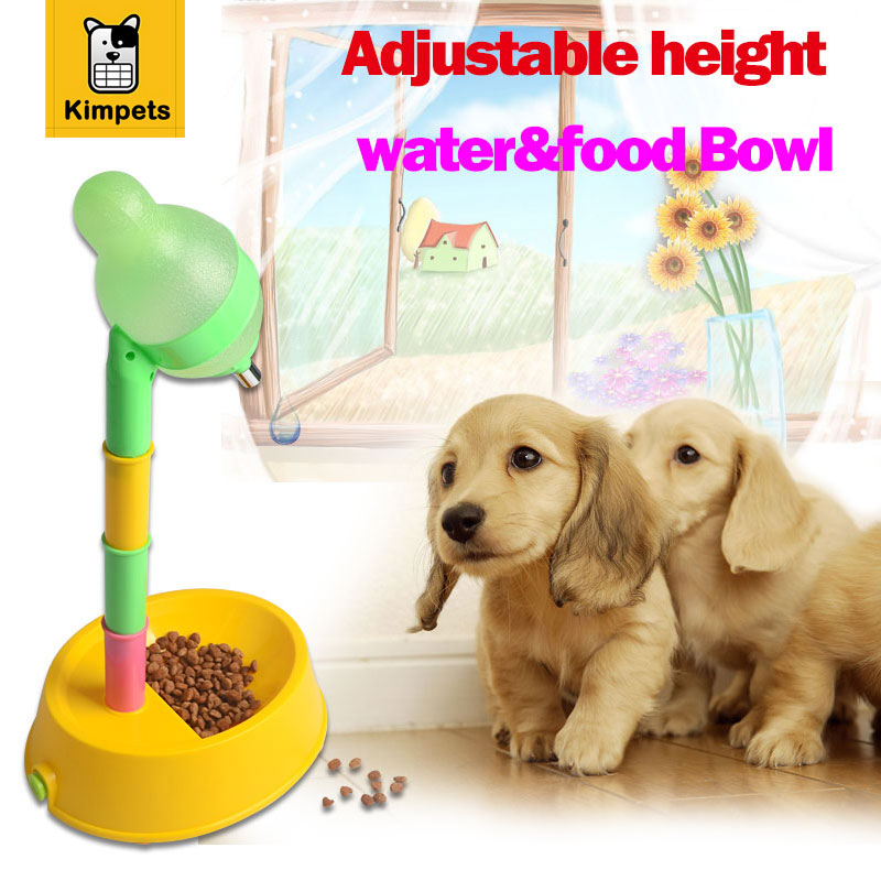 New Design Pet Dog Cat Food Water Adjustable Feeder Pet Dog Cat Bowl Dog Water Bottle