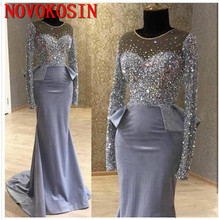 2019 Real Sample Chic Sparkly Crystal Prom Dresses Long Sleeve Illusion Bodice Mermaid Jewel Neck Occasion Evening