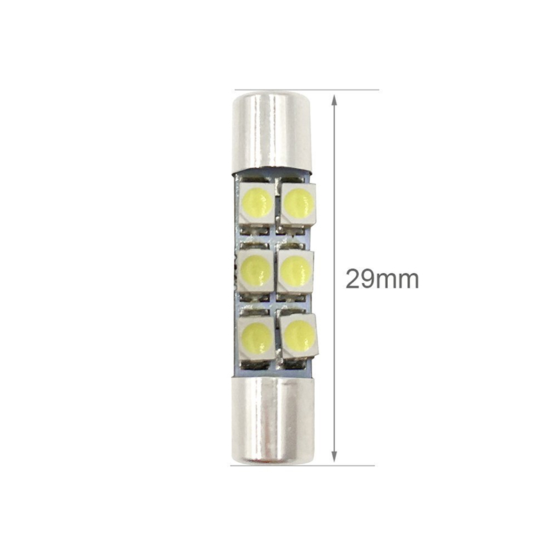 KEYECU 10pcs White 6-SMD 29mm 3528 LED Replacement Bulbs For Car Sun Visor Flips Vanity Mirror Interior Reading Lights