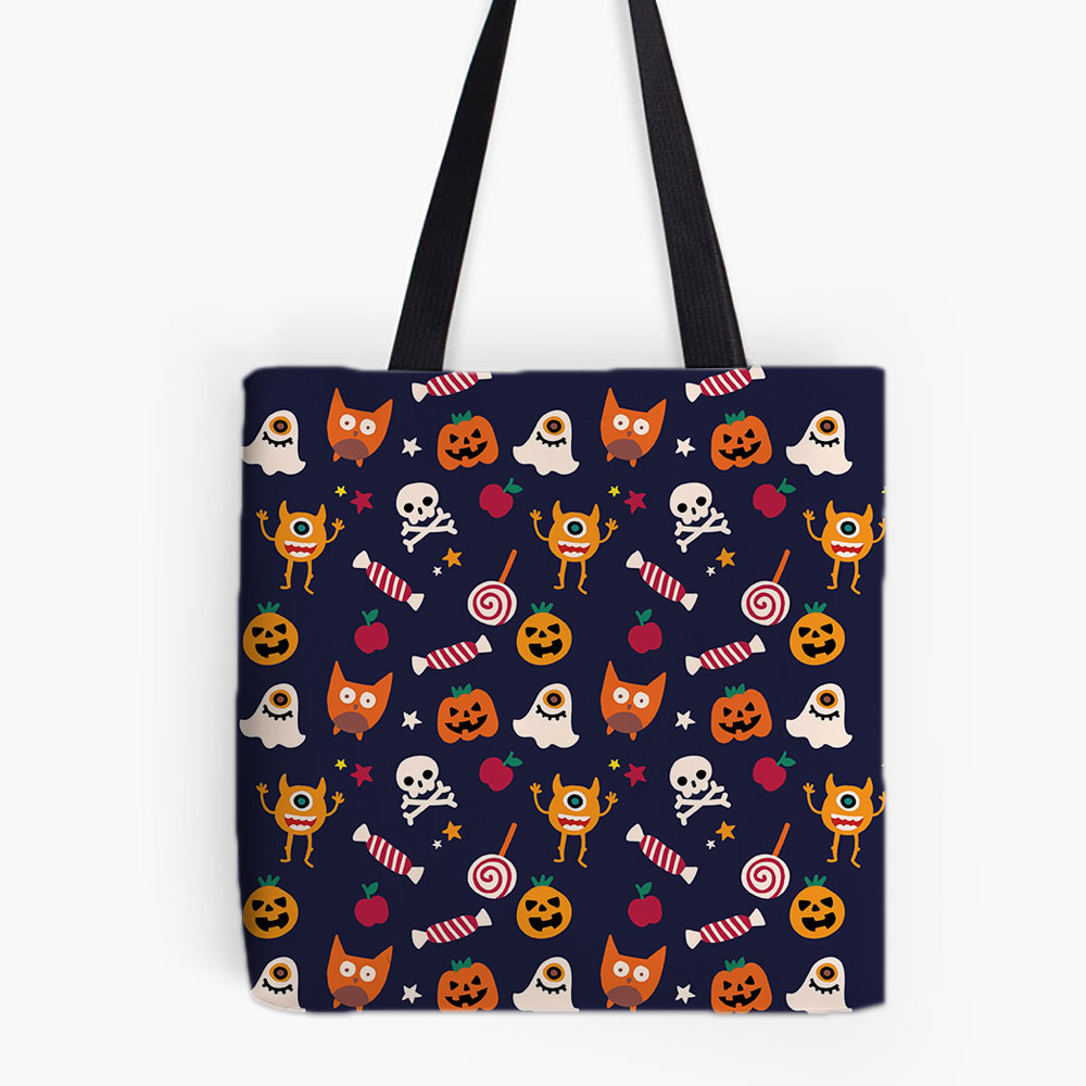 Happy Halloween Designs Printing Tote Bag For Shopping Food Convenience Women Shoulder White Canvas Hand Bags Cute Monster