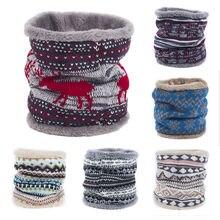 Рождественский зимний Флисовый Шарф-снуд, шерстяной вязаный утолщенный теплый шарф для шеи, унисекс, Взрослые шарфы-кольца