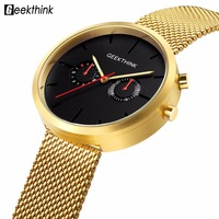 GEEKTHINK Cool Black Men Watches High Quality Stainless Steel Quartz Watch Functional Male Luxury Brand Wristwatch