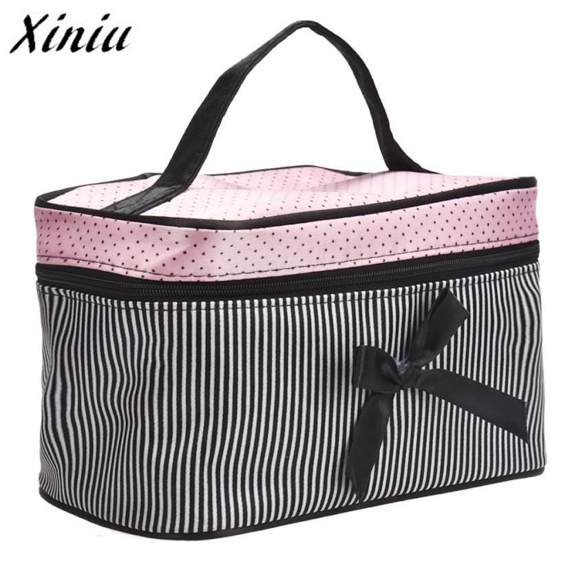 Xiniu New Cosmetic Bag Bowknot Stripe Makeup Square Storage Box Make Up Organiser Container Pouch/Bag drop shipping A0711 sa212 saddle bag motorcycle side bag helmet bag free shippingkorea japan e ems