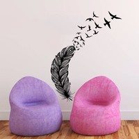Vinyl Wall Decals Art Home Decor Design Mural Feather Birds Nib Style Feather Peacock Living Room