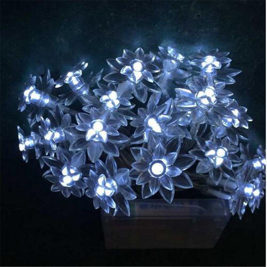 8M 50 LED Lamp Lotus Flowers Battery Operated Fairy Lights Decorative Lights for Christmas Wedding Decoration