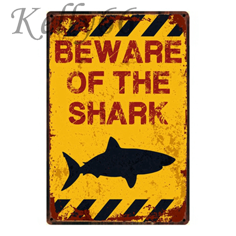 [ Kelly66 ] Beware Smake Shark Hunter Eaqle Vintage Metal Sign Tin Poster Home Decor Bar Wall Art Painting 20*30 CM Size y-1106
