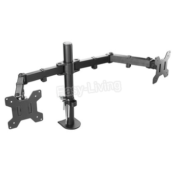 """MS02 Desktop Clamping Full Motion 360 Degree Dual Monitor Holder Stand 10""""-27""""LCD LED Monitor Mount Arm Loading 9.9kgs Each Head 1"""
