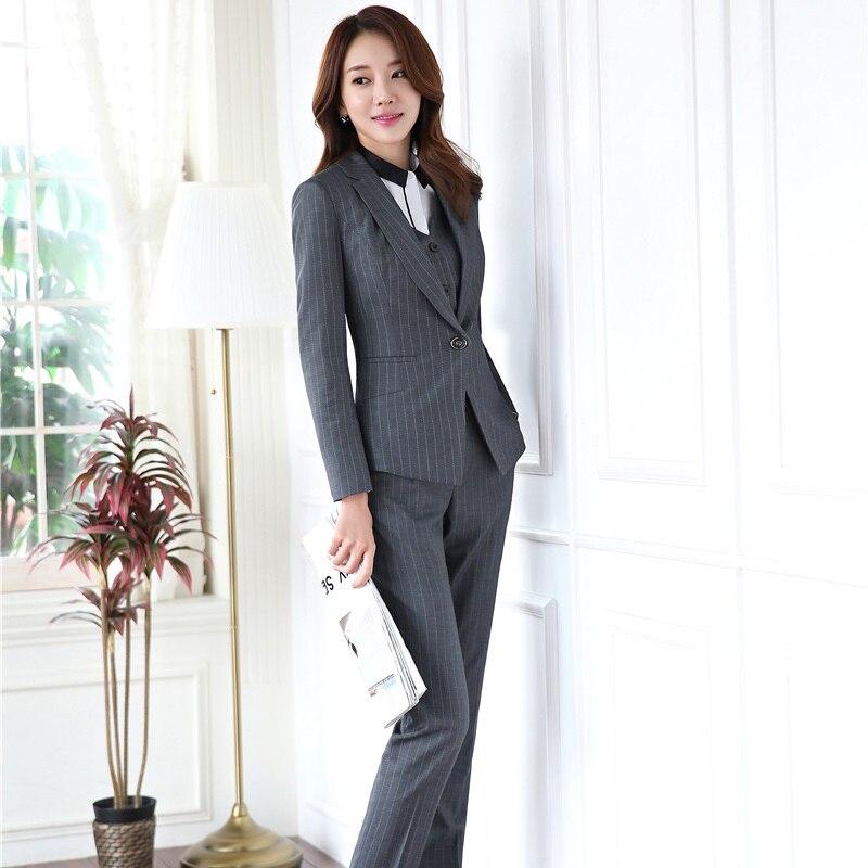 Formal Ladies Office Pant Suits For Business Women Work Wear Blazers With 4 Pieces Jackets + Pants + Vest + Blouses Pants Suits