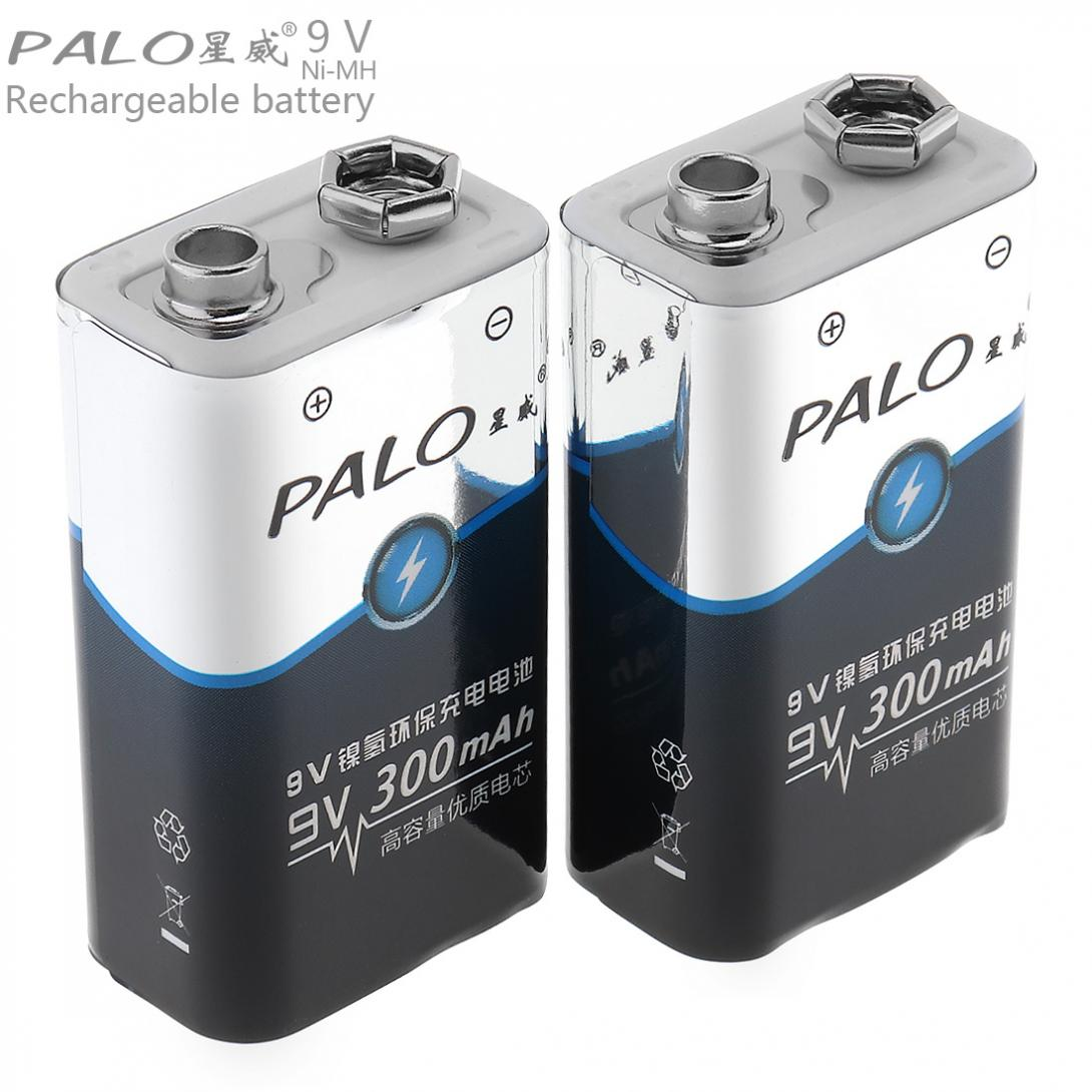 PALO 2pcs 300mAh 9V 6F22 Battery Ni-MH Rechargeable Battery 3A Charging Current for Multimeter Wireless Microphone Alarm 3 in 1 lcd digital multimeter green 9v 1 x 6f22