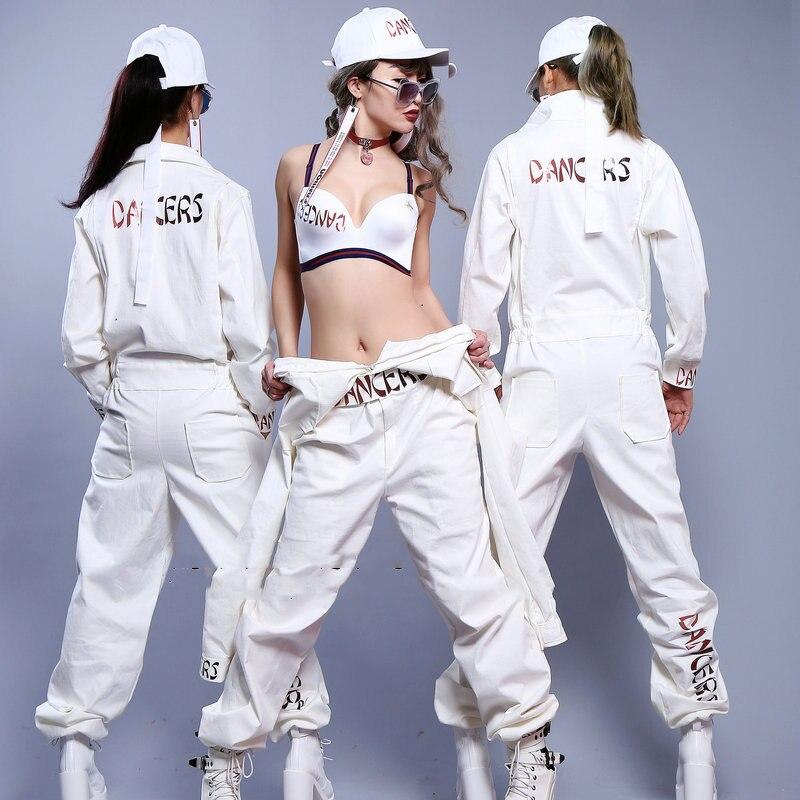 Unisex White Casual Hip Hop Jazz Dance Costume Jumpsuit Cheerleader  Nightclub Dj Female Singer Rock Performance 80ed4eea3fde
