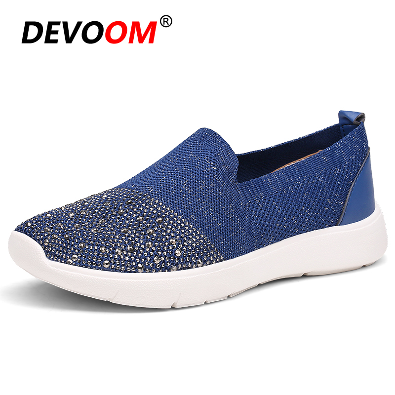 2018 Women Fashion Diamond Casual Shoes Summer Slip on Breathable Mesh Shoes Woman Comfort Soft White Sole Footwear CryStal Flat women s shoes 2017 summer new fashion footwear women s air network flat shoes breathable comfortable casual shoes jdt103