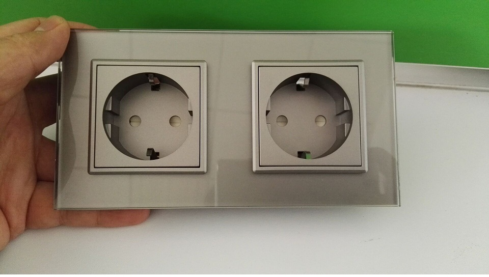 2016 EU Standard Wall Power Socket, White /Gray Crystal Glass Panel, Manufacturer of 16A Wall Outlet, OS-02EU-5 купить