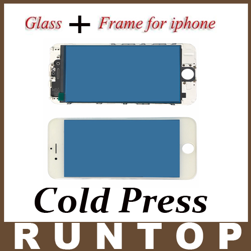 1pcs Cold Press High Quality   A+ LCD Front Touch Screen Glass Outer Lens with Frame Bezel for iphone 5 5s replacement lcd front outer screen glass lens with tools kit for apple iphone 6 plus 5 5 inch