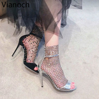 2019 Fashion New Women Sandals Sexy High Heels Thin Heel Crystal Decoration Shoes Summer Peep Toe Size 40 aa0869