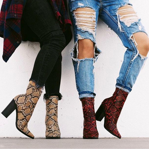 Image 2 - 2020 Plus Size Women Boots 11cm High Heels Fetish Stripper Burgundy  Ankle Boots Prom Snake Print Block Heels Chunky Red Shoes