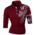 New 2017 Fashion Mens Casual Dragon Print  polo Long Sleeves Shirt Tee Tops Slim Trend Designed Shirt 5 Colors S M L XL XXL U005