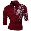 Nuevo 2017 moda casual para hombre del dragón impresión camisa de polo de manga larga camiseta Tops Camisa Delgada Tendencia de Diseño 5 Colores Sml XL XXL U005