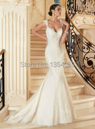 New Luxurious Slim Ing Long Mermaid Tank V Neckline Sleeveless Backless White Ivory Lace Wedding Dress Custom Made Mr17 In Dresses From Weddings