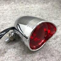 Lâmpada de freio de motocicleta  luz de alumínio retrô cromada/preta para moto  indicador de luz traseira para cruiser  chopper  bobber cafe race
