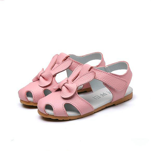 e404c2377 2018 Summer new style Genuine leather girls sandals children rabbit head  Cowhide Princess shoes baby flat toddler Baotou sandals