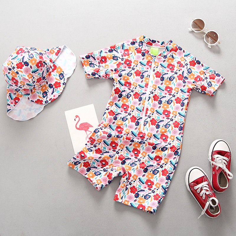 Children Swimwear for Girls Floral Print One Pieces Swimsuit Girl Baby Beach Pool Swim Suit Zipper Closure S/S Kids Bathing Suit