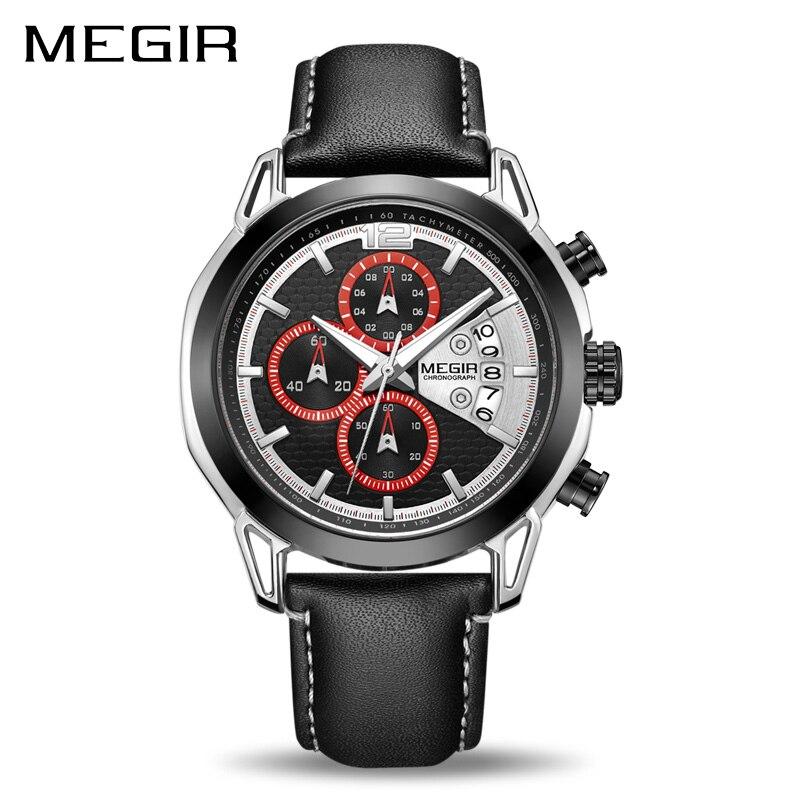 Creative MEGIR Chronograph Men Watch Relogio Masculino Fashion Leather Quartz Wrist Watches Men Clock Hour Army Military Watches цена