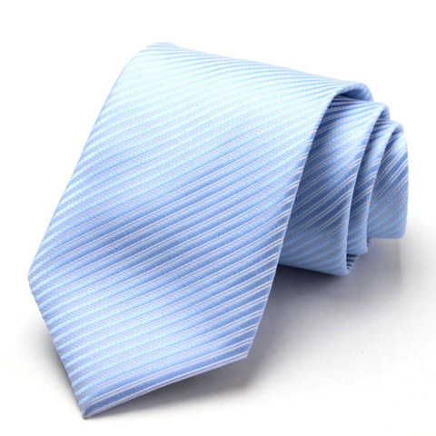Free Shipping Cheap South korean silk fashion married groom wear commercial tie 8cm light blue stripe