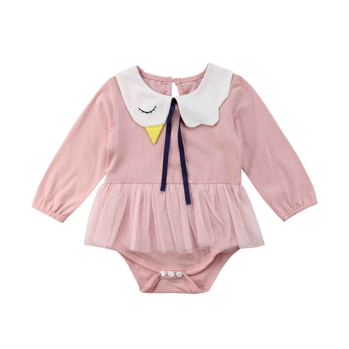 Newborn Toddler Baby Girls Lace Tutu Dress Long Sleeve Bodysuit Jumpsuit Collar Cute Outfit Clothes Baby Girl 0-24M