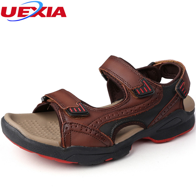 UEXIA 2018 Men Leather Beach Sandals Summer Casual Shoes for Male Soft Leather Gladiator Sewing Design Men Light Soft Loafers