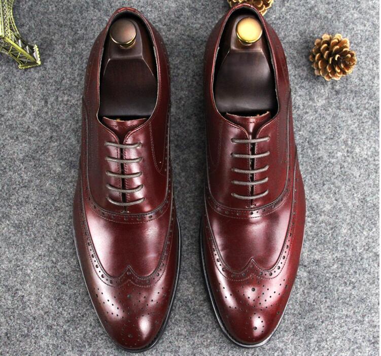 Robe de mariée chaussures hommes à lacets en cuir véritable orteils pointus sculptés richelieu formel affaires respirant marié chaussures à talons bas