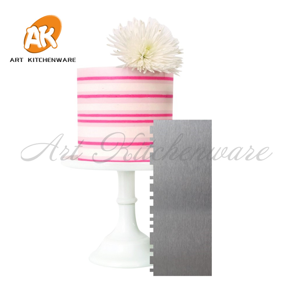 1pc Double Stripe Cake Scraper Baking Pastry Spatulas Stainless Steel Cream Scraper Fondant Cake Decorating Tools Bakeware in Cake Molds from Home Garden