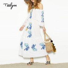 TEELYNN 2018 sexy Boho maxi dress off the shoulder strap dress Floral Embroidery summer dresses vintage white long women dresses(China)