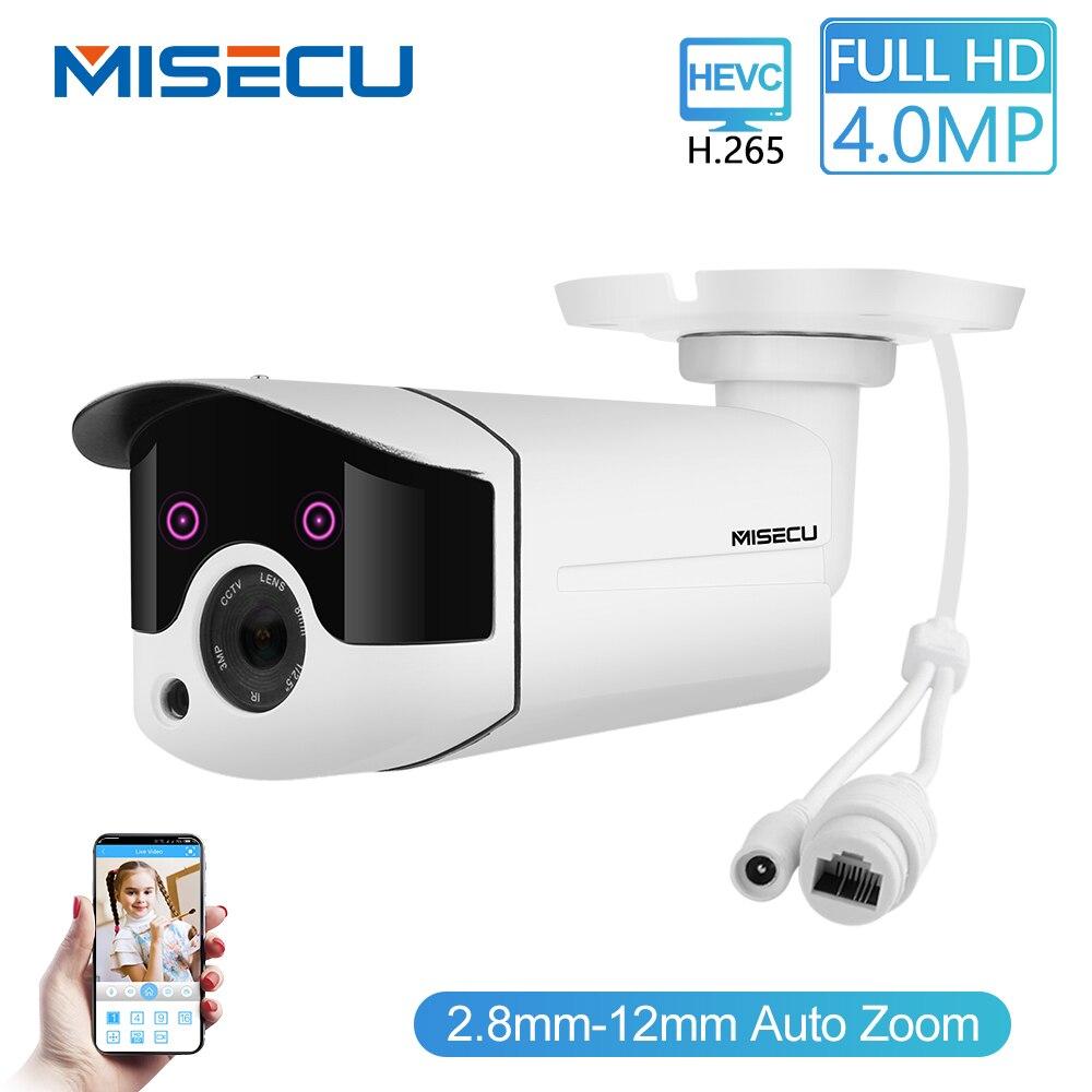 MISECU H.265/H.264 Zoom Motorizado 4.0MP 48V 2.0MP WDR IP Cam POE RTSP Matriz Noite IR Detecção de Movimento vigilância CCTV à prova d' água