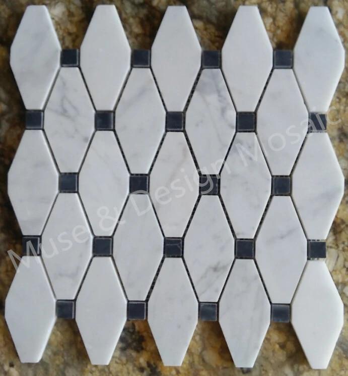 octagon carrara white marble mosaic tiles for kitchen backsplash bathroom wall tile sticker floor tiles