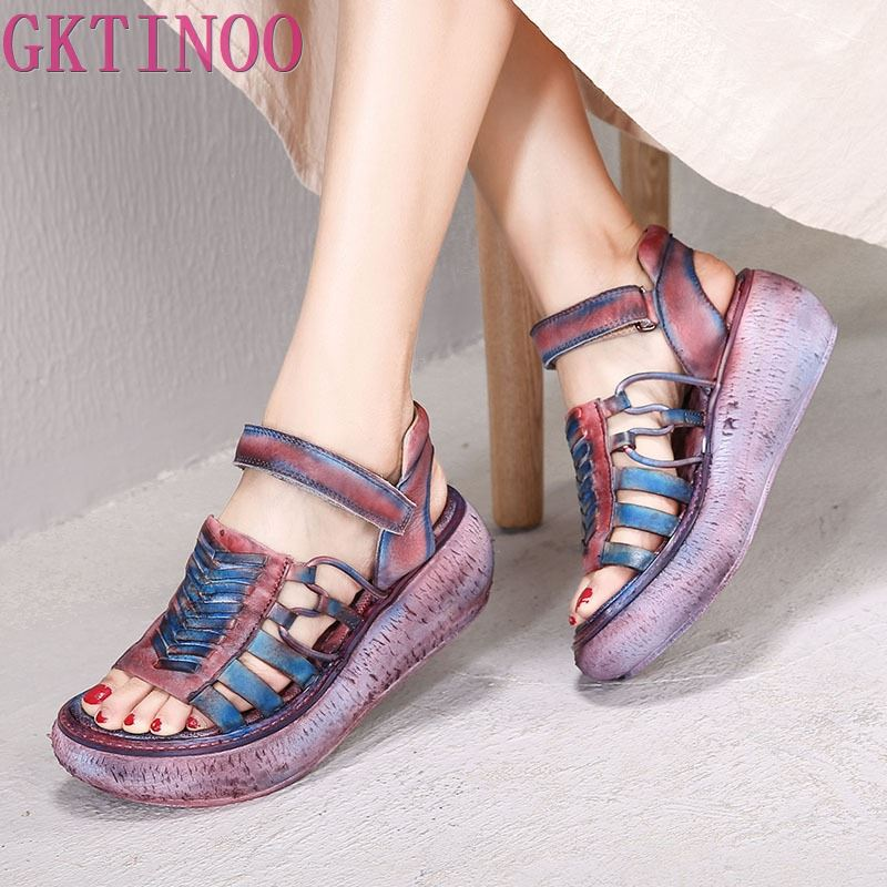 GKTINOO Original 2019 Spring and Summer New Thick Soft Genuine Leather Retro Women Sandals Handmade Platform Wedges Heels ShoesGKTINOO Original 2019 Spring and Summer New Thick Soft Genuine Leather Retro Women Sandals Handmade Platform Wedges Heels Shoes