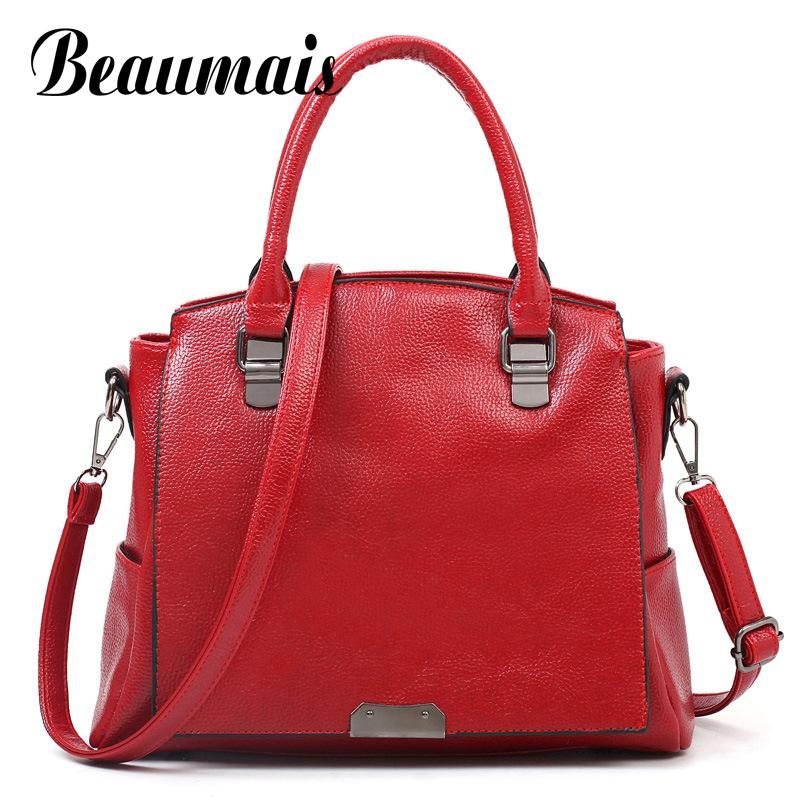 ФОТО Beaumais Hot Sale Pu Leather Women Messenger Bags Casual Top-handle Shoulder Bags For Women Leather Handbags Tote Bolsas DB5789