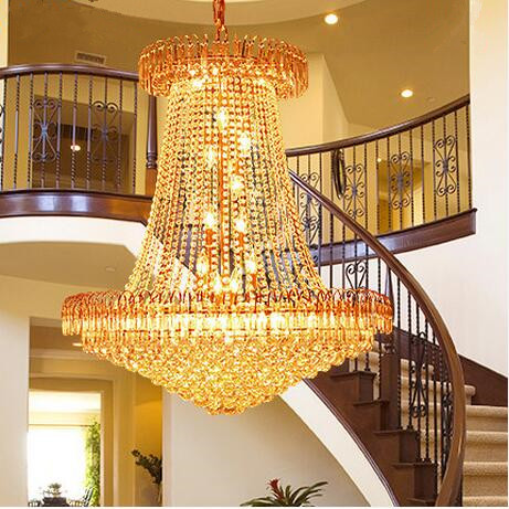 LED clean crystal Modern pendant light Style Living Room Double Entry Stair Lights Villa Project Hall Pendant Lamps 110-240VLED clean crystal Modern pendant light Style Living Room Double Entry Stair Lights Villa Project Hall Pendant Lamps 110-240V