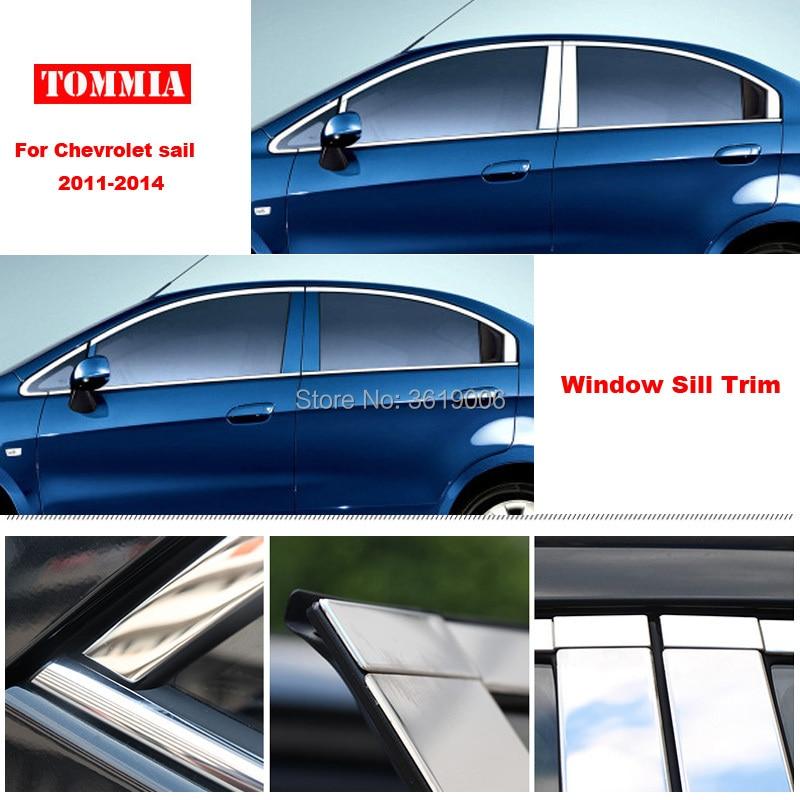 TOMMIA полное окно средний столб литье подоконник хромированная Накладка для стайлинга полосы из нержавеющей стали для Chevrolet sail 2011 2014