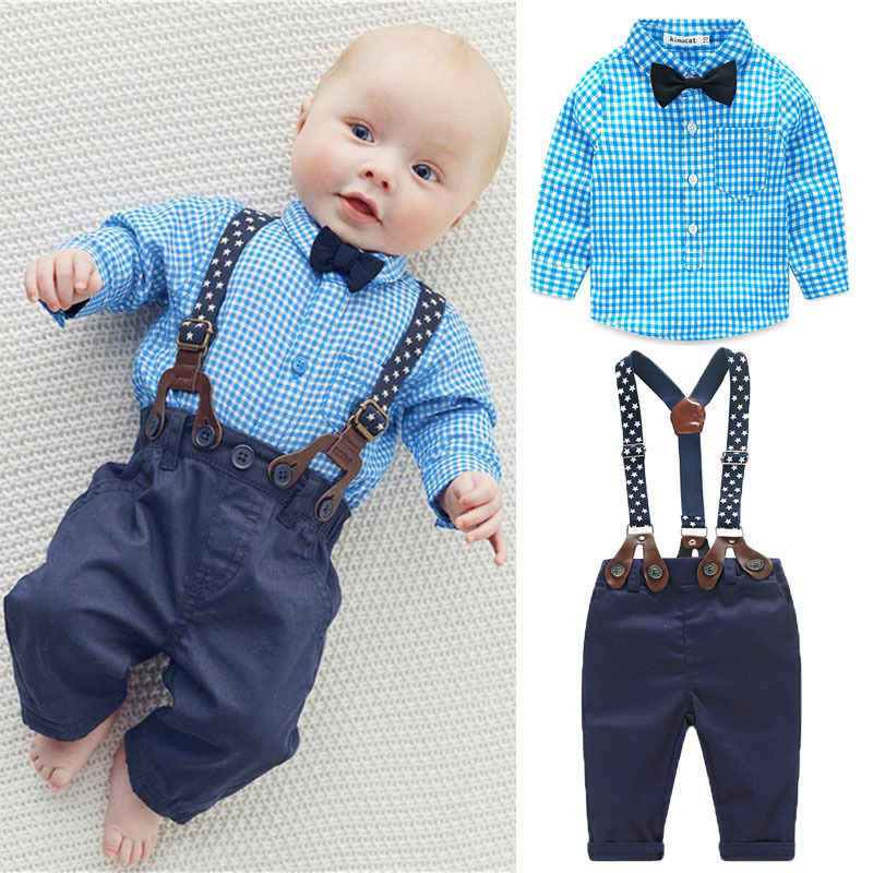 c9200a0fd2ca 2pcs Newborn Baby Boy Clothes Bow Tie Plaid Shirt+Suspender Pants Trousers  Overalls Outfits Kids