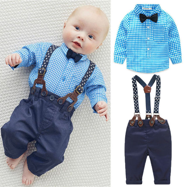 ca49e1947 2pcs Newborn Baby Boy Clothes Bow Tie Plaid Shirt+Suspender Pants Trousers Overalls  Outfits Kids Clothing Set 0-24M