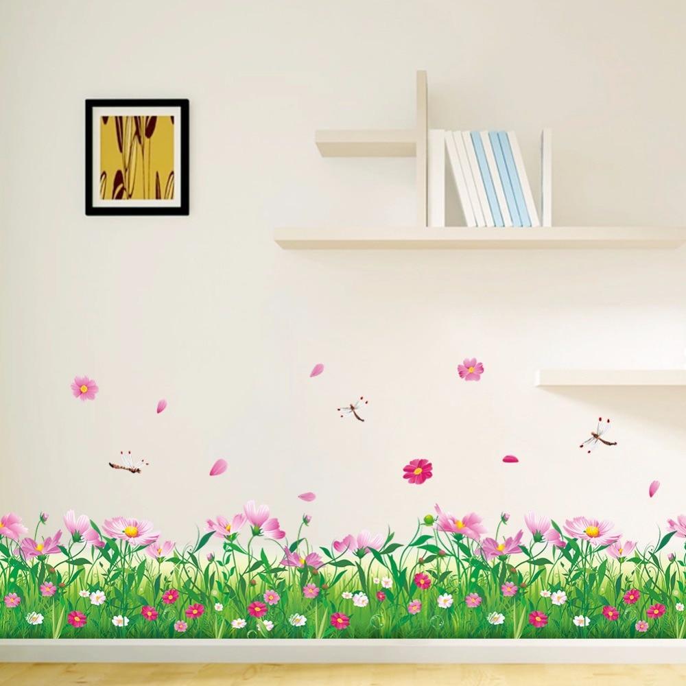 Pink Flowers Grass Baseboard Wall Sticker Grass Plant Border
