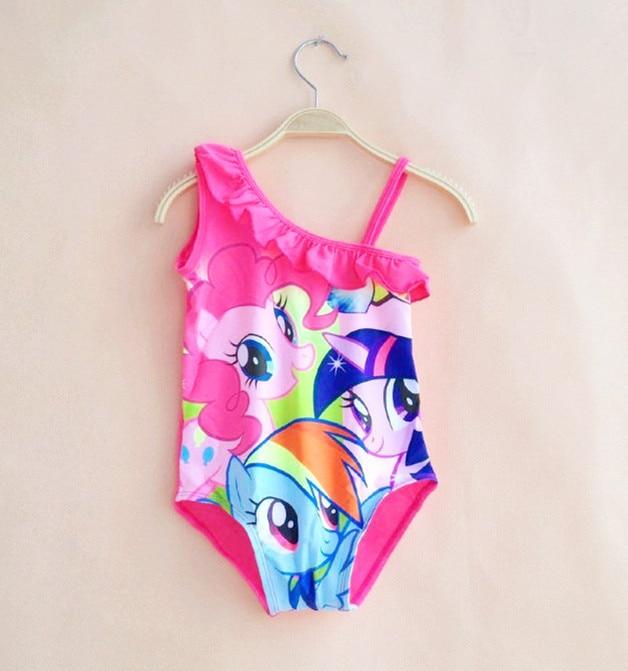 Hot Sale! Cute Baby Girl Swimwear One Piece With Pony Cartoon Pattern 3-10Y Girls Swimsuit Kid Children Swimming Suit P98