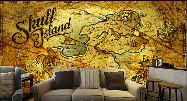 Custom Retro Wallpaper 3d Pirate Treasure Map For The Living Room Bedroom Tv Background Wall Vinyl Papel De Parede