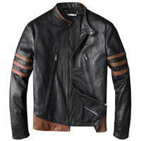 Wolverine Series Streetwear Mens Sheepskin Real Leather Jacket and Coats Motorcycle Genuine Leather Jackets Male Clothing A768