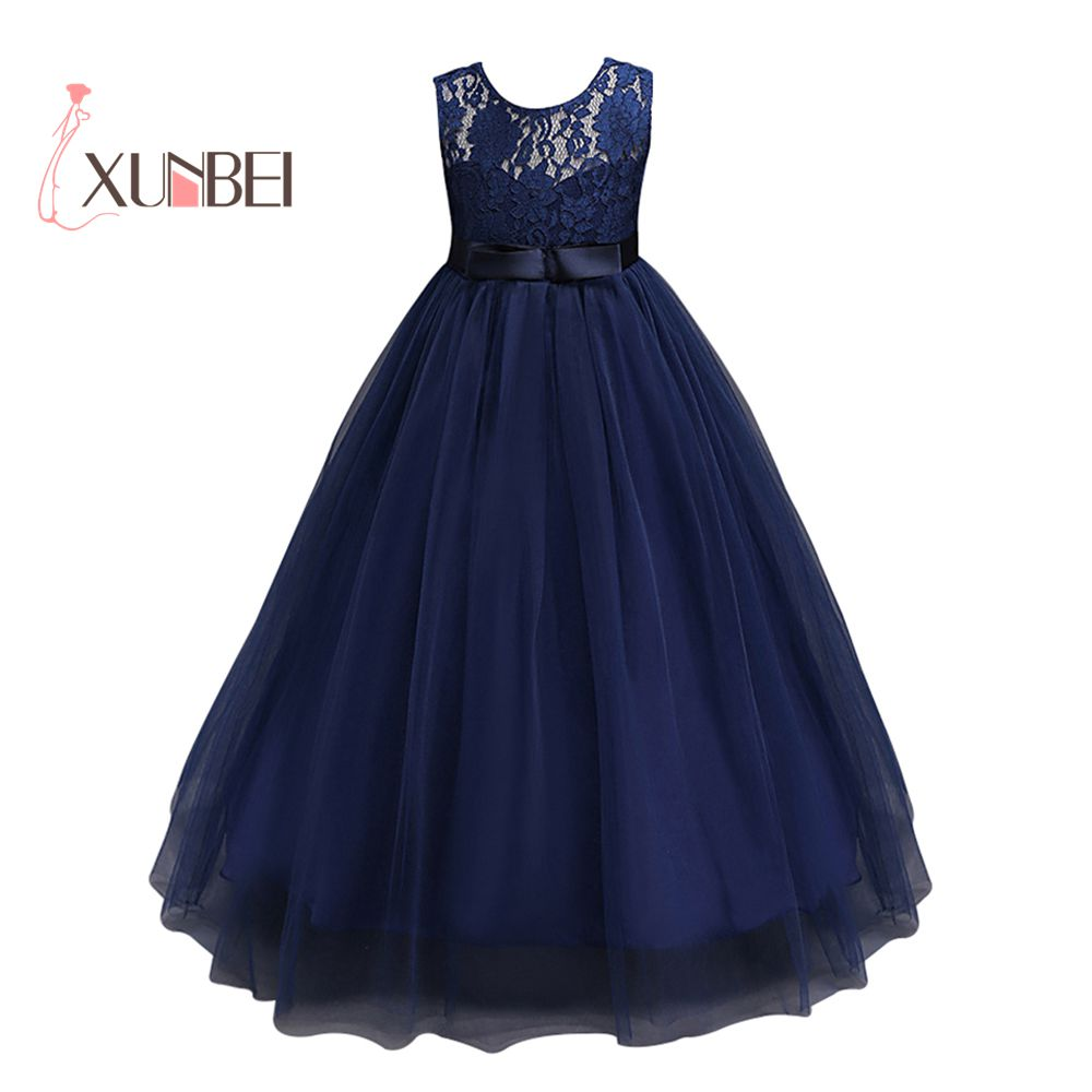 e439a32f7 Navy Blue petites filles robes Princess Lace Flower Girl Dresses 2017 Tulle  Girls Peagant Dresses First