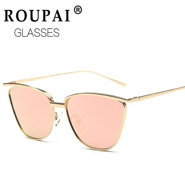 1ece838dff ROUPAI fashion vintage Square cat eye sunglasses women men brand designer  Rose gold frame Mirror coating Sun Glasses shades