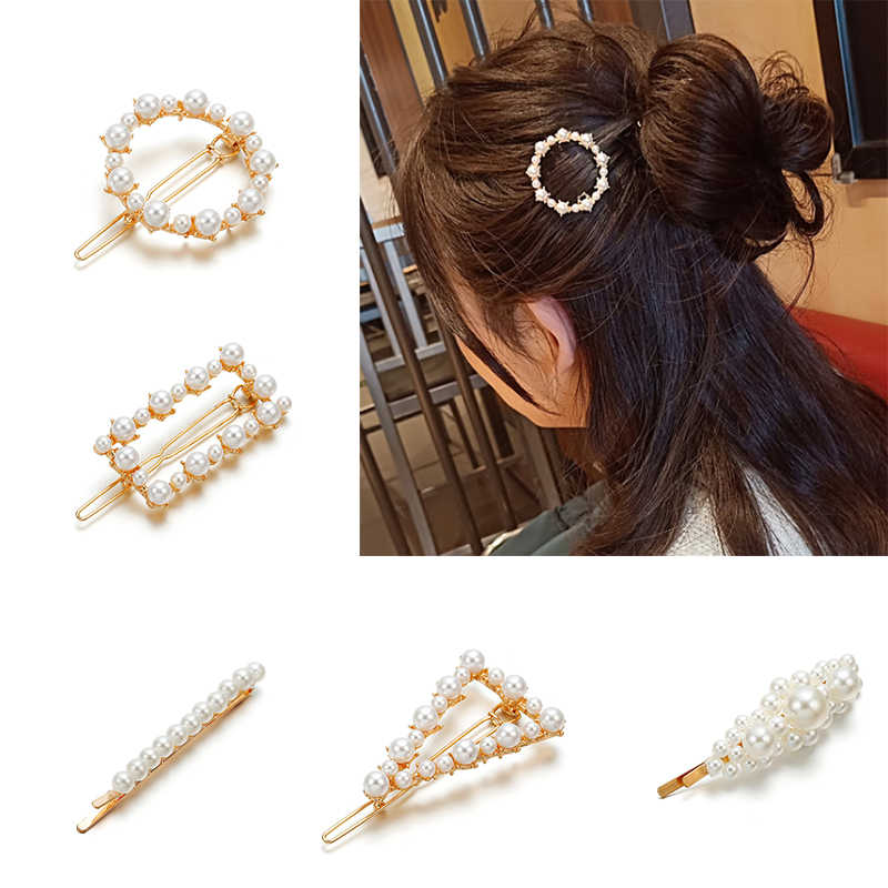 New Fashion Women Metal Pearl Hair Clip Snap Hair Barrette Stick Hairpin Hair Styling Accessories For Women Girls Drop shipping