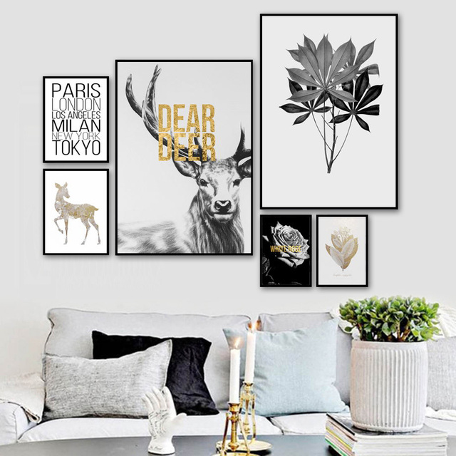 Deer Flower Leaves Smoke Quotes Wall Art 1
