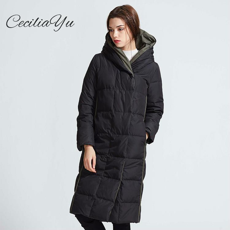 Ceciliayu 2018 Winter New Arrival X-long Slim Thick Full White Duck   Down   90% Coloured Leisure Long Hat Hooded Lady's   Down     Coat